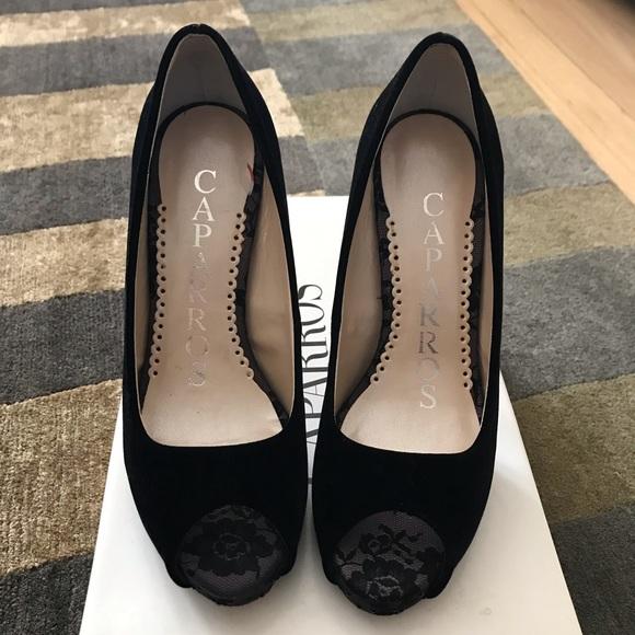 Caparros Shoes - Caparros Black Velour Open Toe Stilettos 👠
